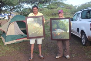107.3 Jozini 2013 16th TFT - 1st and 2nd Raffle Winners - Roop and Bradley with C. Bertram-Smith numbered prints